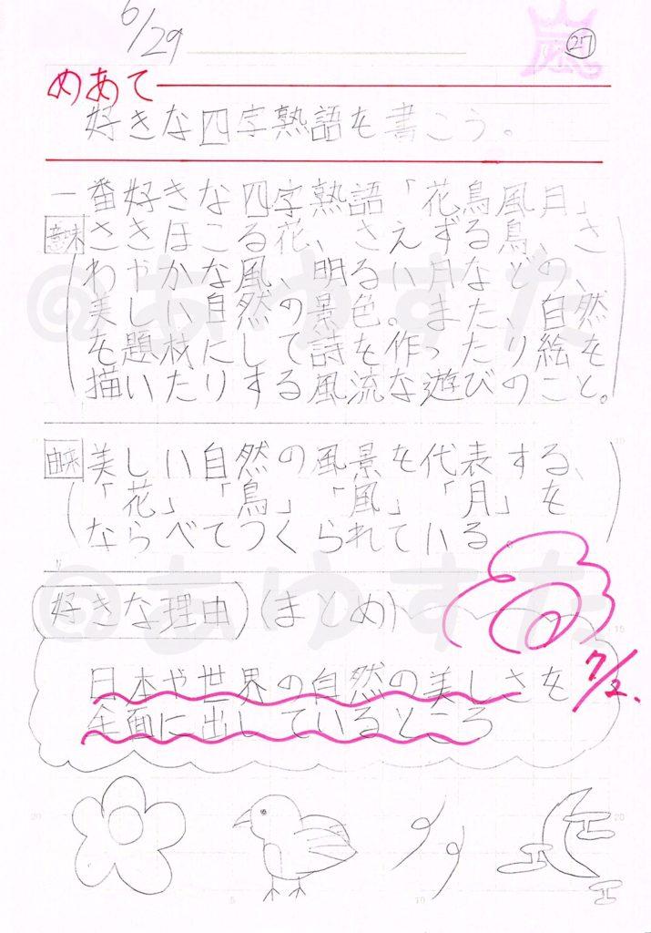 好きな四字熟語についての自主学習ノート