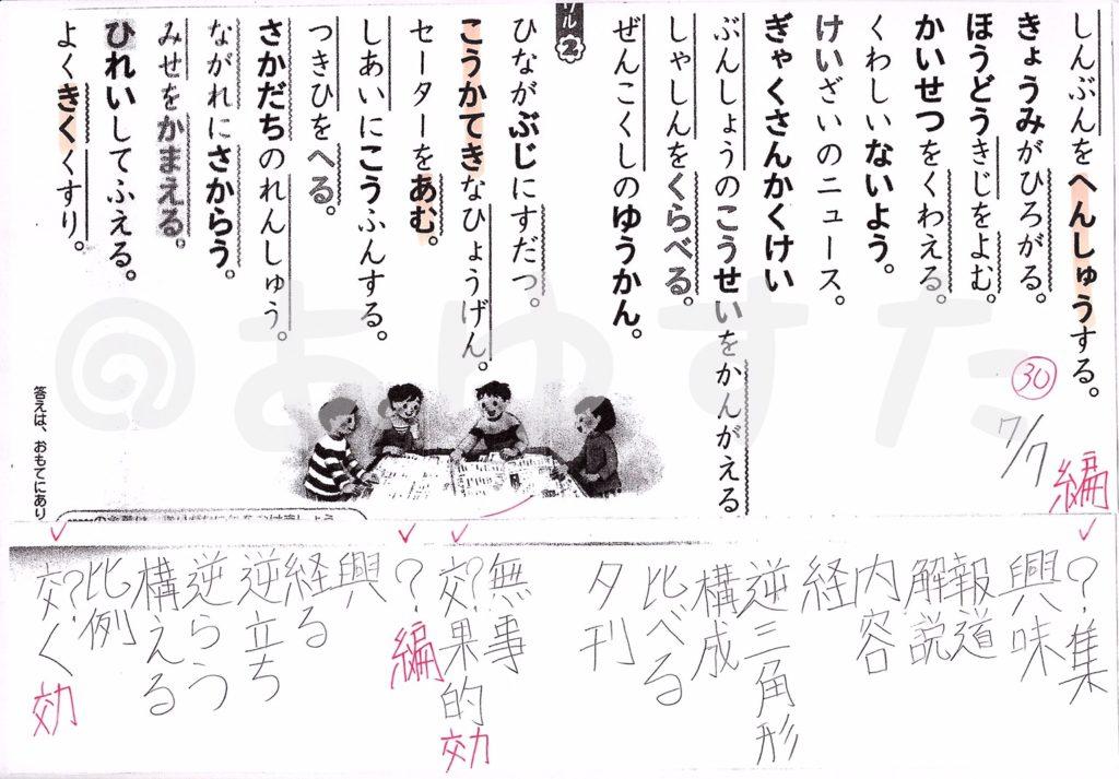 漢字テスト対策についての自主学習ノート
