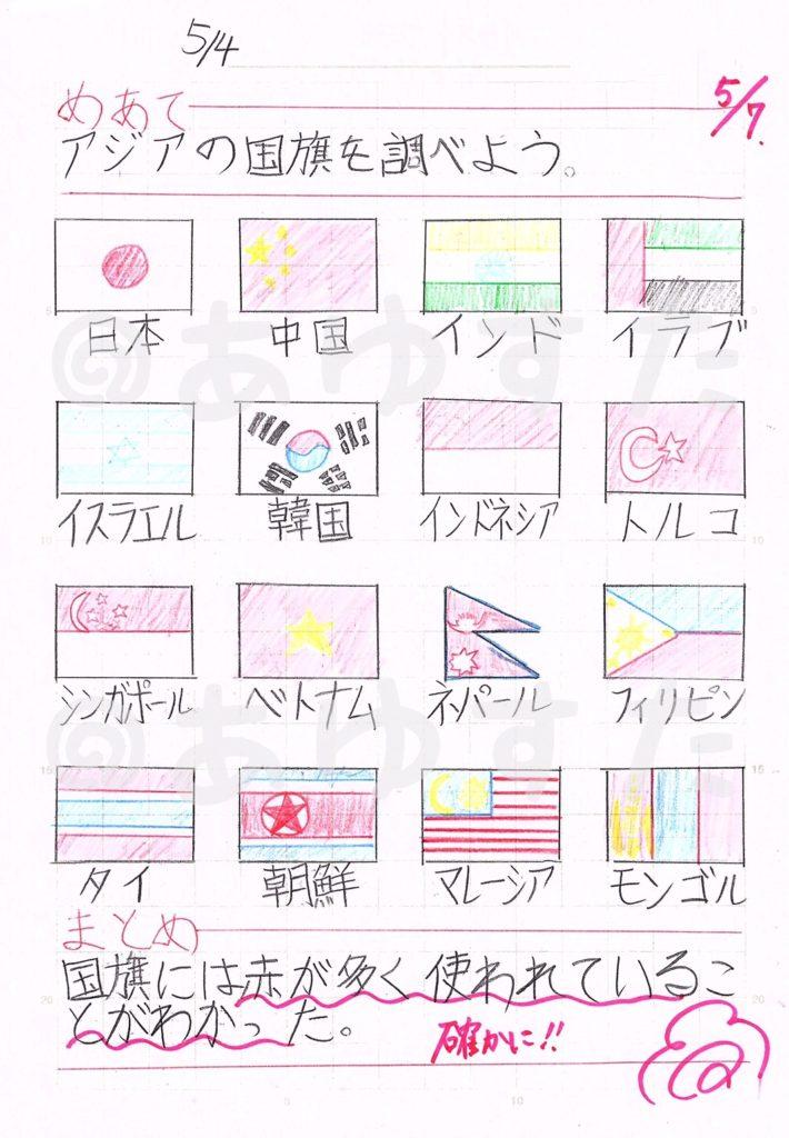 アジアの国旗の自主学習ノート