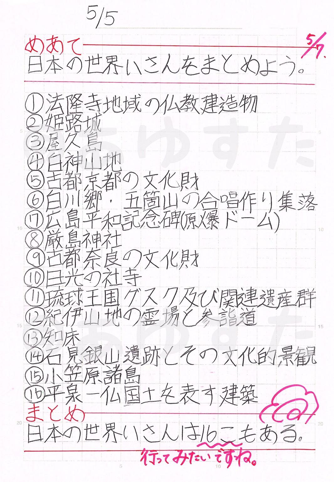 日本の世界遺産の自主学習ノート