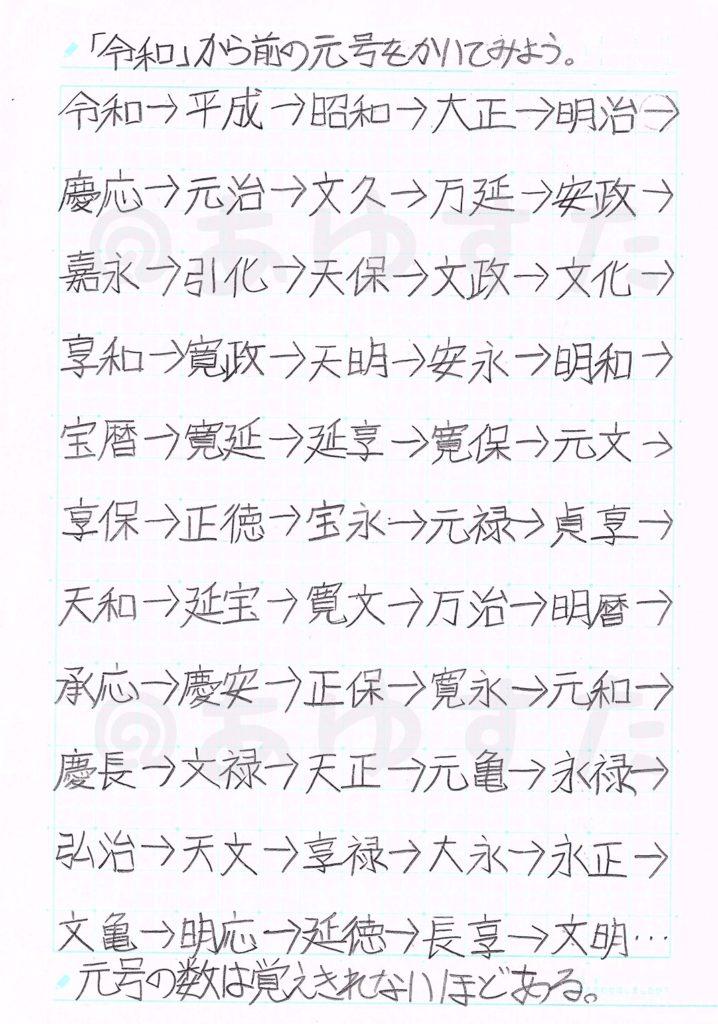 「令和」から前の元号についての自主学習ノート